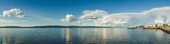 Trondheimsfjord (Jaime Prez) Tags: sky panorama water norway clouds island muelle norge dock agua nubes noruega fjord trondheim srtrndelag fiord isla fiordo munkholmen pir noreg y