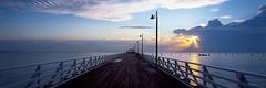 Shorncliffe Sunrise ([ Kane ]) Tags: light sun film clouds sunrise dawn pier jetty australia velvia qld queensland 50 617 queenslandaustralia shorncliffe fotoman617