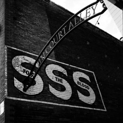 South Court Alley, Georgetown KY (Nickademus42) Tags: 500cm hasselblad georgetown kentucky 6x6 square medium format 120 80mm black white film photography project podcast sss fortheblood blood