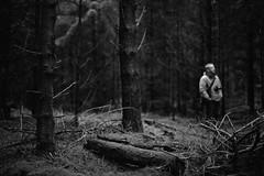 *FILM* man in the woods (Philip Schulze) Tags: wood trees man tree film pine analog forest blackwhite photographer grain mystical rodinal wald bume spruce nikonfe baum fichten nikkor50mm lichtung schwarzweis adox nadelwald silvermax