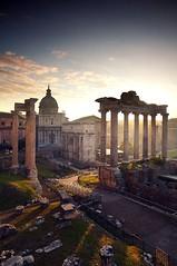 Ancient Rome. Roman Forum looking North. Septimius Severus Arch in the background (mike catalonian) Tags: arch romanforum septimiusseverus ancientrome romanarchitecture vespasianustemple