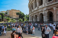 Colousseum at 10 am (D. Scott Taylor) Tags: italy rome colosseum tourist travel landscape people ancient segway blue green yellow red