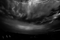 """Thunderstorm over my Hometown"" (helmet13) Tags: city longexposure sky bw weather raw threatening elements thunderstorm lightning darkclouds d800e"