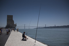 The Blues of the Fisherman (Gilderic Photography) Tags: bridge blue portugal monument canon fisherman lisboa lisbon belem tage lisbonne gilderic