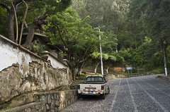 entrance to hike up to the cross above Antigua (Pejasar) Tags: hike path stairs climb city cobblestone truck walk antigua guatemala