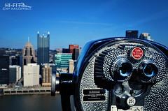 city goggles (Hi-Fi Fotos) Tags: city urban skyline nikon pittsburgh pennsylvania metallic tourist lookout binoculars mounted coinop mountwashington optics swivel toweroptical d5000 hallewell towerviewer hififotos