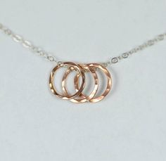 Dainty Hammered Circ (alaridesign) Tags: dainty hammered circle necklace rose gold ring best friends moms by alaridesign