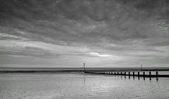 Elmer Low Tide (hall1705) Tags: sky seascape reflection beach clouds sussex mono blackwhite seaside sand marker lowtide groyne d3200