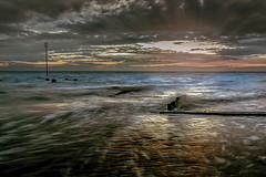 Through my lens (Lazaros E) Tags: uk sunset sea summer england seascape beach clouds dark seaside waves outdoor dusk tide kingslynn lazarose
