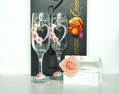 1 (Flowerdeco) Tags: flowers red roses summer black flower glasses bride spring hand handmade painted clay weddings bridal bridegroom favor  flutes decorated glassware polymer