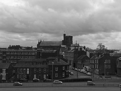 B&W - Carlisle Cathedral and Tullie House clock (penlea1954) Tags: uk bridge b roof chimney white house black view cathedral top w millennium cumbria carlisle dixons tullie