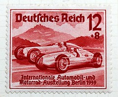 Historical postage stamps - International Car Show, 1939 (Peter Denton) Tags: red berlin car germany deutschland typography europa europe post mail letters hitler stamp lettering timbre postage motorracing 1939 typographie germanhistory briefmarke francobollo europeanhistory estampilla deutschesreich canonefs60mmf28macrousm internationalcarshow canoneos60d affrancatura grossdeutschesreich internationaleautomobilundmotorradausstellung