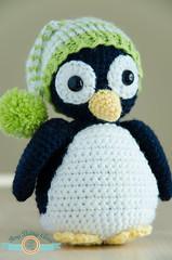 Chris, the Penguin (ItsyBitsyAmi) Tags: blue white green bird hat toy penguin stuffed nikon crochet beak amigurumi pinguin pompom d7000