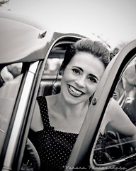 Classy portrait (Vorona Photography) Tags: auto justin usa flower classic girl car female america cat vintage photo washington memorial automobile pretty dress image fife united cancer picture kitty style scene event photograph rockabilly vehicle louie states dame gs pinups polkadot greaser agains camwinders voronaphotography sammiemarie