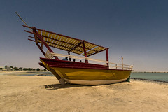 * (Timos L) Tags: beach yellow boat seaside fisheye panasonic g3 qatar dhow 75mm alkhor m43 timos samyang defished micro43