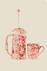 (Jonathan Minto) Tags: pink flowers flower macro art coffee floral beautiful silhouette petals cafe pretty close doubleexposure frenchpress mug caffeine cafetiere canon5dmkii canon50mm18eflens jonathanminto