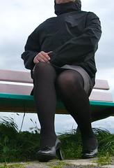 helennorthcoast - Rainy day on the coast 01 (helennorthcoast) Tags: stockings highheels legs cd tights cast bandage crossdresser splint sprain