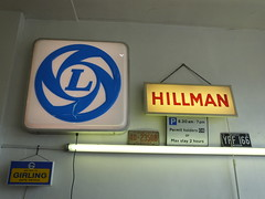 Classic Signage (kenjonbro) Tags: uk england sign vintage blackheath illuminated hillman leyland girling worldcars suninthesands kenjonbro leylandcars fujifilmfinepixhs50exr delacourtroad delacourtmotors