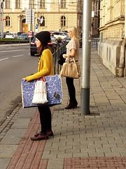 Girls at Crosswalk (Kojotisko) Tags: people brno cc creativecommons czechrepublic streetphoto persons fujifilmfinepix fujifilmfinepixsl1000 fujifilmfinepixsl1000kojotisko