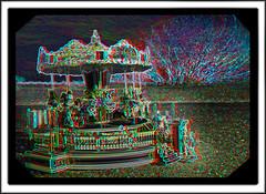 Neon Dreams  - Carousel 3D (DarkOnus) Tags: closeup lumix stereogram 3d carousel anaglyph stereography redcyan dmcfz35