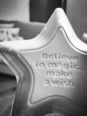 Three hundred. Believe in magic (sarahjanequinn) Tags: blackandwhite monochrome chocolate wish iphone project365 newsprintfilter uploaded:by=flickrmobile flickriosapp:filter=newsprint