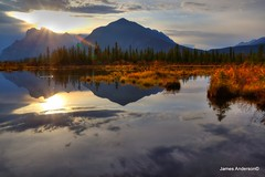 Breaking Dawn (JA Photography - Be There, Out There) Tags: autumn mountain reflection sunrise banffnationalpark jamesanderson vermilionlake mountainreflections japhotography reflectingmountains