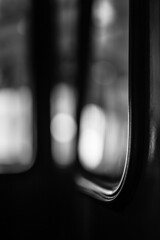 On the Way Out (belleshaw) Tags: blackandwhite window glass reflections lowlight trolley rubber seal orangeempirerailwaymuseum perrisca