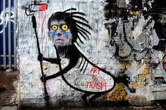 Art Is Trash 1 (Terterian - A million+ views, thanks.) Tags: street uk england urban distortion abstract colour london art public promotion wall trash painting print poster graffiti freedom design mural grafitti message graphic artistic expression contemporary secret capital creative january surreal social hidden talent printing shoreditch painter figure graffitti gb imagination spraypaint anonymous comment important 2014 art idiom street tower hamlets