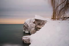 Wintry Sunset at Scarborough Bluffs (ndutzie) Tags: winter sunset lake snow ontario canada ice long exposure fuji scarborough bluffs bluffers xe1