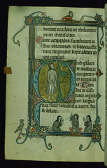 """Fieschi Psalter, Initial """"Q"""" with Judas hanging; St. Clare holding a monstrance and flanked by two Franciscan nuns in margin, Walters Manuscript W.45, fol. 89v"""