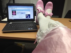 office (shellyanatine) Tags: pink dress crossdressing sissy frilly