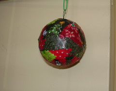 Decoupage Christmas Ornament Feb 2015 (Fleurette Jardin) Tags: fun handmade crafts fabric bazaar crafty february decoupage 2015 modpodge forchristmas styrofoamball passingtimeinwinter