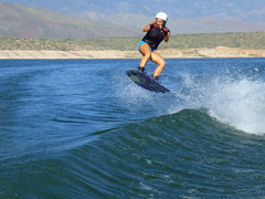 Catching Air (BuhrleyPhotography) Tags: friends summer arizona lake sports nature water perfect air extreme spray boating wakeboarding boarding gf