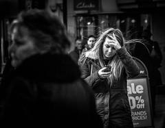 OMG! (pootlepod) Tags: street white black girl monochrome mobile photography call alone head telephone cellphone horror shock forehead distress stphotographia