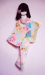 Japanese origami doll 5 (tengds) Tags: pink flowers blue green asian japanese kimono obi papercraft japanesepaper washi ningyo handmadepaper chiyogami asiandoll yuzenwashi japanesepaperdoll nailsticker washidoll origamidoll nailartsticker tengds embossedyuzenwashi