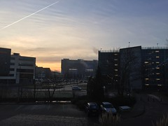 Woensdag 18 februari 2015 (1.013) (gill4kleuren - 13 ml views) Tags: goodmorning good morning goede morgen goedemorgen clouds sky picture every day tree buildings work workplace shoot lente spring winter zomer summer herfst autum nederland leiden sunset rain wolken