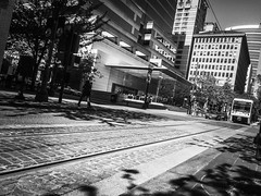 Street Perspectives (TMimages PDX) Tags: road street city people urban blackandwhite monochrome buildings portland geotagged photography photo image streetphotography streetscene sidewalk photograph pedestrians pacificnorthwest avenue vignette fineartphotography iphoneography