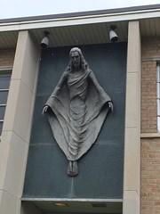 1960's Modern Jesus sculpture - Lynchburg VA (trakked) Tags: school sculpture church hill jesus sunday wing entrance baptist chestnut