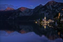 Hallstatt (Bastian.K) Tags: blue lake reflection castle church zeiss star austria kirche hour carl 28 starburst distagon 21mm blaue hallstatt stunde loxia blendenstern
