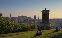 Enjoying the evening light. (Vibrimage) Tags: evening scotland edinburgh edinburghcastle spires monuments hdr carltonhill 5dsr