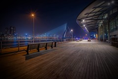 Holland Amerikakade at night (karinavera) Tags: wood longexposure travel bridge netherlands lines night rotterdam cityscape erasmus deck hollandamerikakade nikond5300