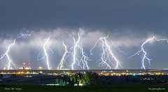 Severe Thunderstorm Panorama (Striking Photography by Bo Insogna) Tags: city blue light sky cloud storm nature rain weather electric skyline night dark lights colorado energy cityscape power view flash dramatic bolt electricity strike thunderstorm lightning lightening electrical thunder climate extremeweather thunderbolt severethunderstorms jamesinsogna