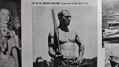 News (Whistler Whatever) Tags: woman dog man america vintage magazine advertising gun time rifle progress 1950s hoe topless farmer photospecs