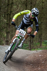 Round the Burm (kate willmer) Tags: trees bike bicycle race track wheels mountainbike racing trail biking berm cannockchase singletrack
