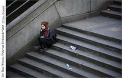 On The Phone, Thames Embankment (jwvraets) Tags: london thamesembankment westminsterbridge evening woman phone steps stairs seated opensource rawtherapee gimp nikon d7100 nikkor18105mmvr