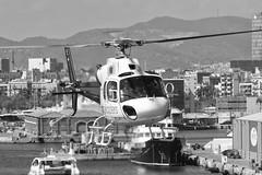 CFR1157-bn AS-355F-2 EC-JYJ (Carlos F1) Tags: nikon d300 lepb helipuerto heliport transporte transport aviación aviation helicoptero helicopter spotter spotting ecjyj aerospatiale as355f2 ecureuil cathelicopters black white blanco negro bn bw barcelona spain rotor rotorcraft