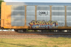 ZENKO (TheGraffitiHunters) Tags: street blue red green art car yellow train graffiti colorful paint purple tracks spray graff carrier freight autorack benched zenko benching