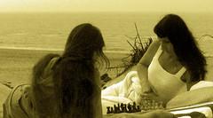 Mother and daughter.Natali Antonovich and Natalya Hrebionka (Natali Antonovich) Tags: sea portrait water monochrome horizon chess lifestyle northsea romantic relaxation chesspiece motheranddaughter reverie familyarchive romanticism belgiancoast wenduine fromfamilyalbum natalyahrebionka nataliantonovich