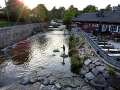 Gone fishing (KaarinaT) Tags: water river evening fishing helsinki vantaanjoki fishermen rapids summerevening vanhakaupunki helsinginvanhakaupunki piecefulsummerevening fishingatthevantaanjokirapids