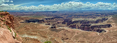 Grand View Point panorama (StGrundy) Tags: sky panorama usa clouds landscape utah nikon unitedstates desert panoramic canyon canyonlandsnationalpark coloradoriver moab nationalparks canyons whiterim 2016 monumentbasin grandviewpoint islandintheskydistrict d7000 stgrundy